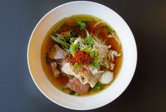 Bowl of pork noodle soup Royalty Free Stock Photos