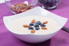 Bowl of porridge with berries. Bowl of oatmeal porridge with walnuts  and blueberry on the purple background Stock Images