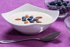 Bowl of porridge with berries. Bowl of oatmeal porridge with walnuts  and blueberry on the purple background Stock Image