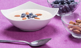 Bowl of porridge with berries. Bowl of oatmeal porridge with walnuts  and blueberry on the purple background Stock Photos