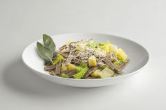 Bowl with portion of pizzoccheri. Single Bowl with portion of pizzoccheri isolated on white stock photo