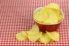 Bowl of potato chips Royalty Free Stock Image
