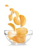 Bowl of potato chips Stock Photography
