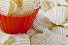 Bowl with potato chips royalty free stock image