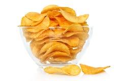 Bowl of potato chips stock photo