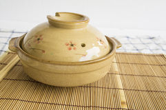 Bowl pottery soup food noodle clay cover lunch delicious concept Stock Photo