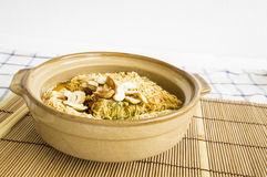 Bowl pottery soup food noodle clay cover lunch delicious concept Stock Image