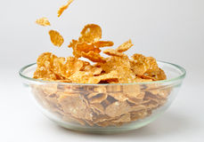 Bowl with pouring cereal flakes Royalty Free Stock Photography