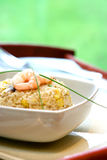 A bowl of prawn, mushroom and egg stir fried rice. Garnish with chives Royalty Free Stock Photos