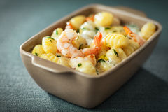Bowl of prawns in Italian gnocchi pasta Royalty Free Stock Photography