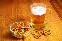 Bowl of pretzels and  mug of beer Stock Image