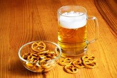 Bowl of pretzels and  mug of beer Stock Image