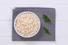 Bowl of puffed buckwheat Royalty Free Stock Photo