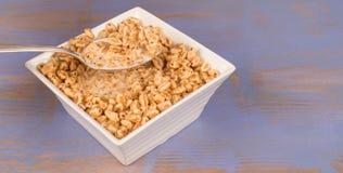 Bowl of puffed rice Stock Photo