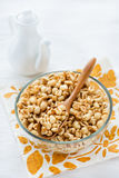Bowl of puffed wheat cereal for breakfast Royalty Free Stock Photo