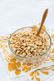 Bowl of puffed wheat cereal for breakfast Stock Photography