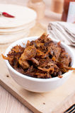 Bowl with pulled roasted pork Stock Photography