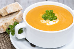 Bowl of Pumpkin Creme Soup Stock Image
