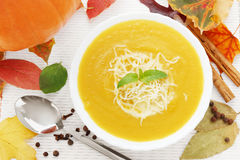 Bowl of pumpkin soup Stock Photos