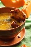 Bowl of pumpkin soup closeup Stock Photo