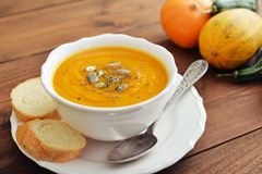 Bowl of pumpkin soup Stock Image