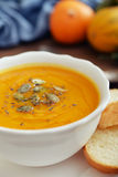 Bowl of pumpkin soup Royalty Free Stock Photo