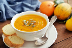 Bowl of pumpkin soup Royalty Free Stock Photography
