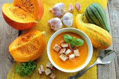 Bowl with pumpkin soup Stock Photography