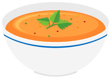 Bowl of pumpkin soup. Illustration Stock Photo