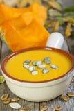 Bowl of pumpkin soup. Stock Photos