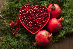 Bowl with purified pomegranate for making juice. Royalty Free Stock Photography