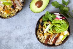 Bowl with quinoa, roast chicken and avocado. Coconut bowl with quinoa, aubergine, roast chicken and avocado from above stock photography