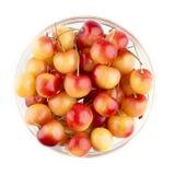 Bowl of Rainier Cherries Stock Photo