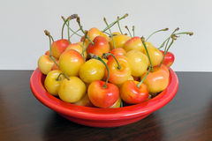 Bowl of Rainier Cherries Macro Closeup Royalty Free Stock Photo