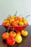 Bowl of Rainier Cherries Stock Photography