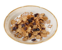 Bowl of Raisin Bran. My breakfast - isolated - clipping path included stock photo