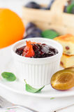 A Bowl (Ramekin) of Plum and Orange Zest Jam Stock Photos