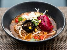 Ramen traditional fast food meal japanese cuisine. Bowl of ramen. Traditional fast food meal of Japanese Chinese and Korean cuisine. Tasty noodle soup Royalty Free Stock Photos