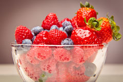 Bowl With Rapsberries, Strawberries And Blueberries Royalty Free Stock Images
