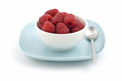 Bowl of raspberries Stock Image