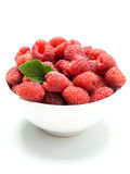 Bowl of raspberries Stock Photos