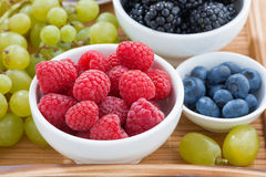Bowl of raspberries, fresh berries and green grapes Royalty Free Stock Image