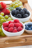 Bowl of raspberries, fresh berries and green grapes Royalty Free Stock Photography