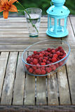 A bowl of raspberries Royalty Free Stock Photos