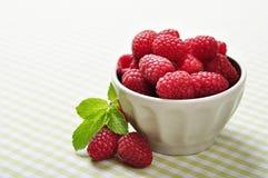 Bowl of raspberry Stock Image