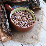 Bowl with raw beans in a rustic style Royalty Free Stock Photo
