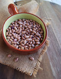 Bowl with raw beans in a rustic style Royalty Free Stock Photography