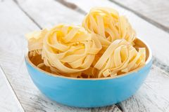Bowl of raw fettuccine nests Royalty Free Stock Photo