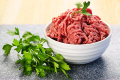 Bowl of raw ground meat Royalty Free Stock Photo