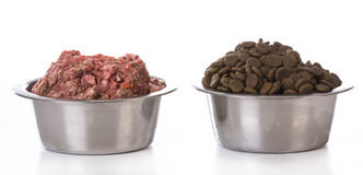 Bowl of raw and kibble Stock Photo